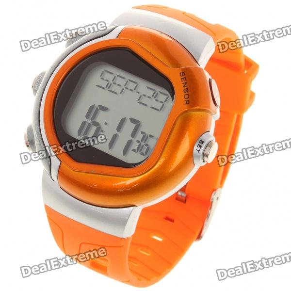 Stylish Digital Sports Heart Rate Monitor Wrist Watch - Orange (1 x CR2032)