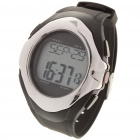 Stylish Digital Sports Heart Rate Monitor Wrist Watch - Black + Silver (1 x CR2032)