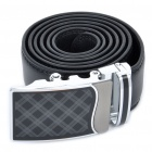 Stylish Cow Leather Men's Belt w/ Zinc Alloy Buckle - Black