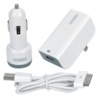 3-in-1 USB Car Power Adapter + AC Power Adapter + USB Cable Set for iPhone/iPad/iPod