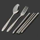 Stainless Steel Travel-Easy Dinner Set (Fork + Spoon + Chopsticks)