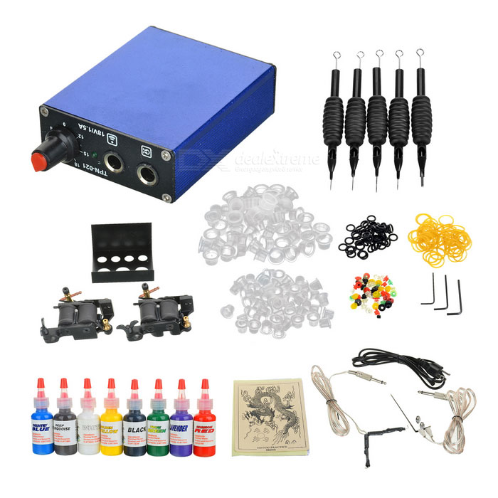 D203 Starter 2 Guns Tattoo Complete Kit wholesale price stainless steel foot switch pedal tattoo clip cord for tattoo mahcine tattoo power supply free shipping