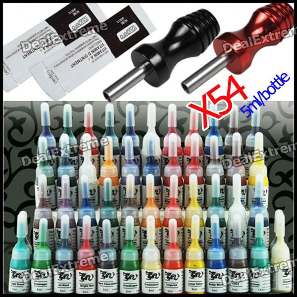 Tattoo Supplies 54 Color Inks with 2 Alloy Grips + 2 Ointment Set