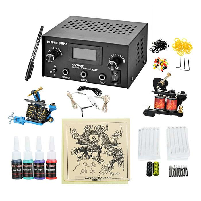 Complete Tattoo Kit 2 Machines Gun for Starter Power Supply Needles professional 6 oz bottle tattoo ink blending agent for ink fixing tattoo suppies