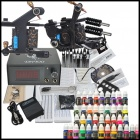 Complete Tattoo Kit 2 Machines Gun 40 Color Inks Power Supply Needles Set