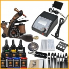 Complete Tattoo Kit Machine Gun 7 Color Inks Power Supply Needles Set
