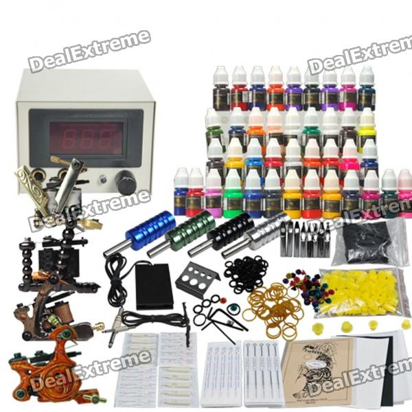 Complete 4 Tattoo Machines Gun 40 Color Inks Power Supply Needles Starter Set wholesale price stainless steel foot switch pedal tattoo clip cord for tattoo mahcine tattoo power supply free shipping