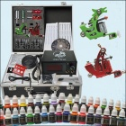 Complete 2 Tattoo Machines Guns 40 Color Inks Power Supply Needles Set