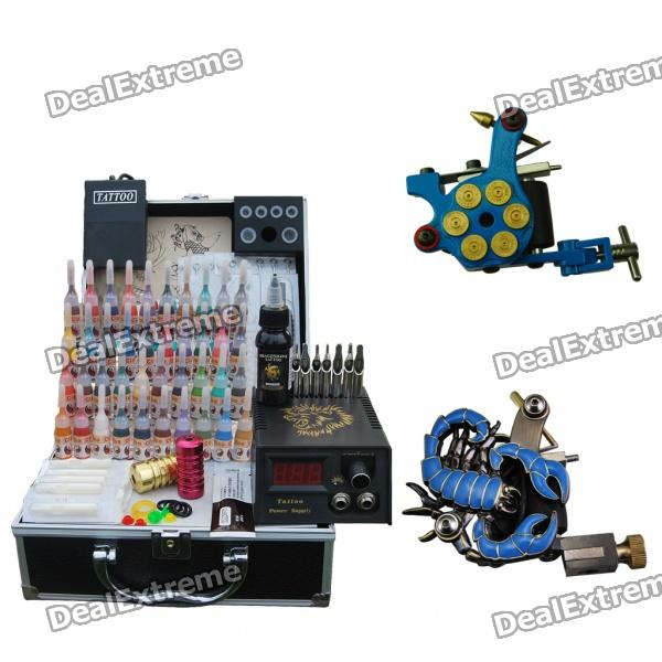 Complete 2 Tattoo Machine Guns with Power Supply Set professional 6 oz bottle tattoo ink blending agent for ink fixing tattoo suppies