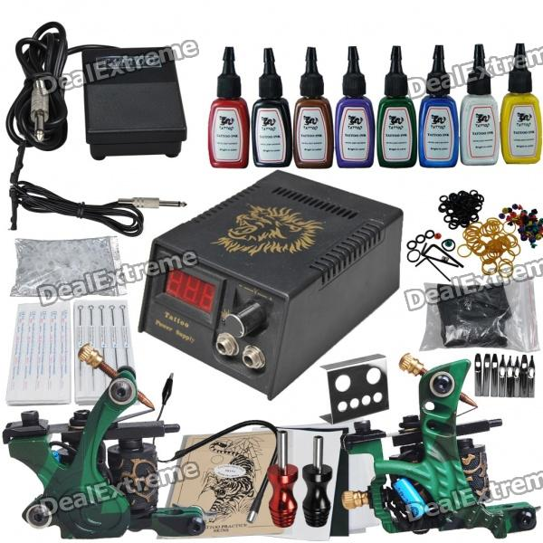 Complete 2 Tattoo Guns w/ Power Supply 8 Color Inks Needles Set (D223) wholesale price stainless steel foot switch pedal tattoo clip cord for tattoo mahcine tattoo power supply free shipping