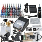 Complete 2 Tattoo Guns w/ Power Supply 28 Color Inks Needles Set (D225)