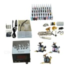 Complete 3 Tattoo Guns w/ 40 Color Ink Power Supply Needles Set (D228)