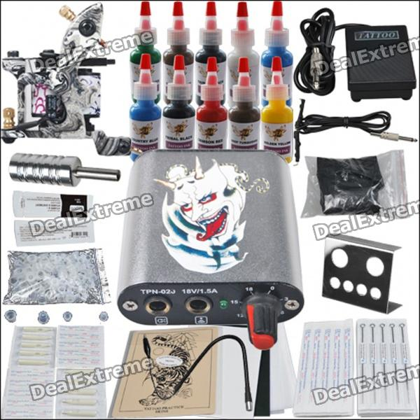 Complete 1 Tattoo Gun w 10 Color Inks Power Supply Needles Equipment Set