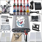 Complete 1 Tattoo Gun w/ 10 Color Inks Power Supply Needles Equipment Set (D219)