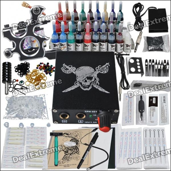 Complete 1 Tattoo Gun Color Ink Power Supply Needles Set (D218) wholesale price stainless steel foot switch pedal tattoo clip cord for tattoo mahcine tattoo power supply free shipping