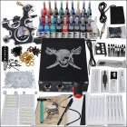 Complete 1 Tattoo Gun Color Ink Power Supply Needles Set (D218)