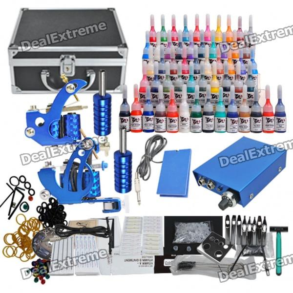 Complete 2 Tattoo Guns w/ 54 Color Inks Black Case Power Supply (D210) wholesale price stainless steel foot switch pedal tattoo clip cord for tattoo mahcine tattoo power supply free shipping