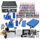 Complete 2 Tattoo Guns w/ 54 Color Inks Black Case Power Supply (D210)