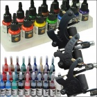 Starter 3 Tattoo Gun w/ Power Supplies 14 Color Inks Set (D198)