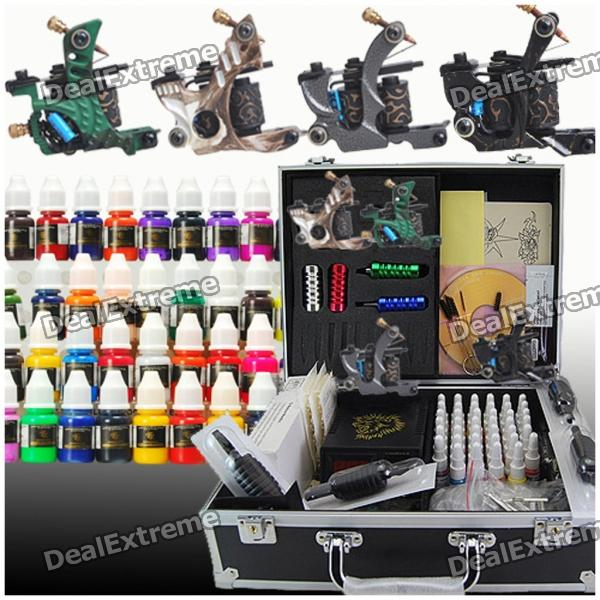 Complete 4 Tattoo Guns w/ 40 Ink Power Supply Set (D120) professional 6 oz bottle tattoo ink blending agent for ink fixing tattoo suppies