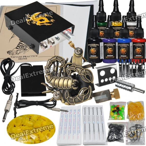 Complete Tattoo Kit Color Inks Machine Gun Power Supply Needles Set professional 6 oz bottle tattoo ink blending agent for ink fixing tattoo suppies