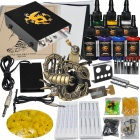Complete Tattoo Kit Color Inks Machine Gun Power Supply Needles Set