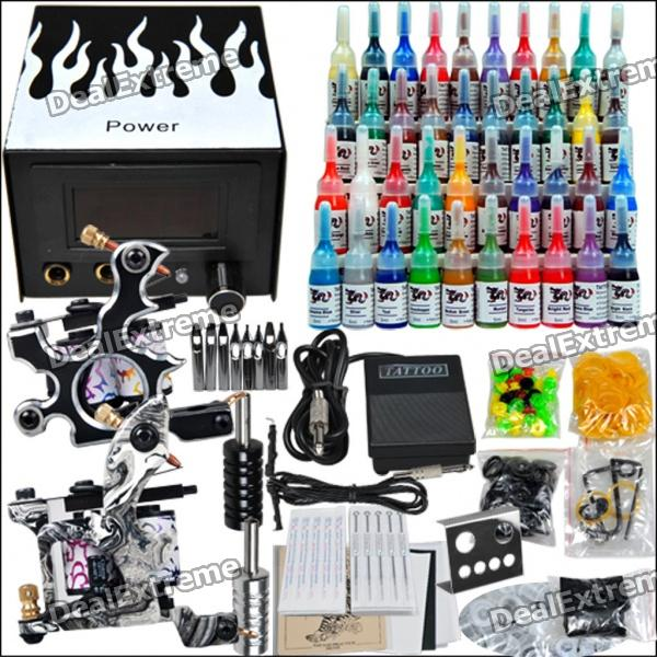 buy complete tattoo kit 2 machines gun 40 color inks power