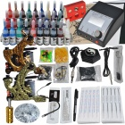 Complete Tattoo Kit 2 Machines Gun 28 Color Inks Power Supply Needles Set