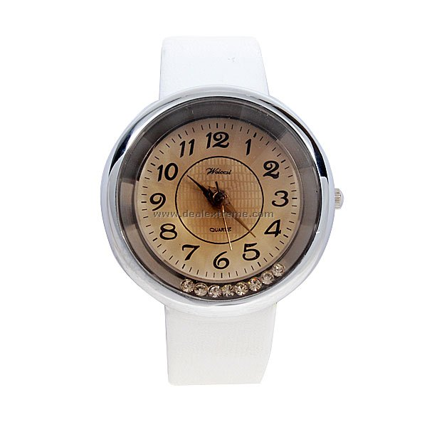 Stylish Lady Quartz Wrist Watch (White Strap)