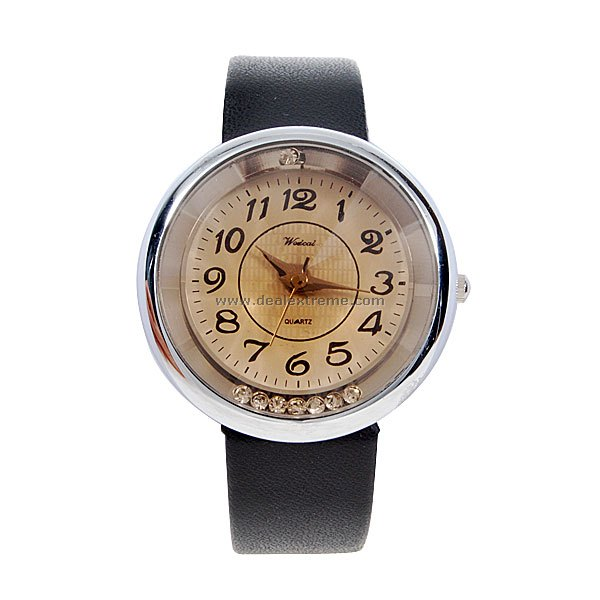 Stylish Lady Wrist Watch (Black Strap)