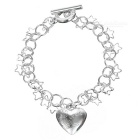 925 Silver Fashion Heart-Shaped Pendant Bracelet - Silver