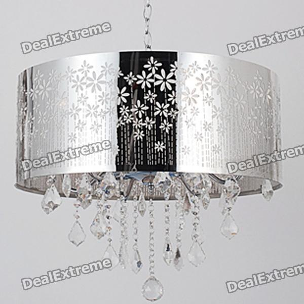 Indoor Chrome Crystal Round Shade Ceiling Chandelier led lamp creative lights fabric lampshade painting chandelier iron vintage chandeliers american style indoor lighting fixture