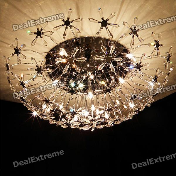 New Floral Crystal Flush Mount with 20 Lightings modern ultra thin round led ceiling light lamps dimmable for living room kids room kitchen lighting fixtures black flush mount