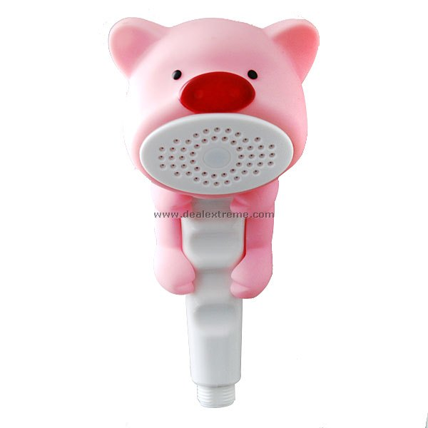 Cute Piggy Shower Head Replacement (with Suckion Pads Wall-Mount)