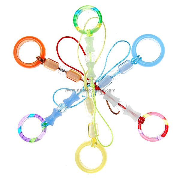Stylish Colored Rings Cell Phone Charms (12-Pack) charming cell phone straps with activity led 10 pack assorted