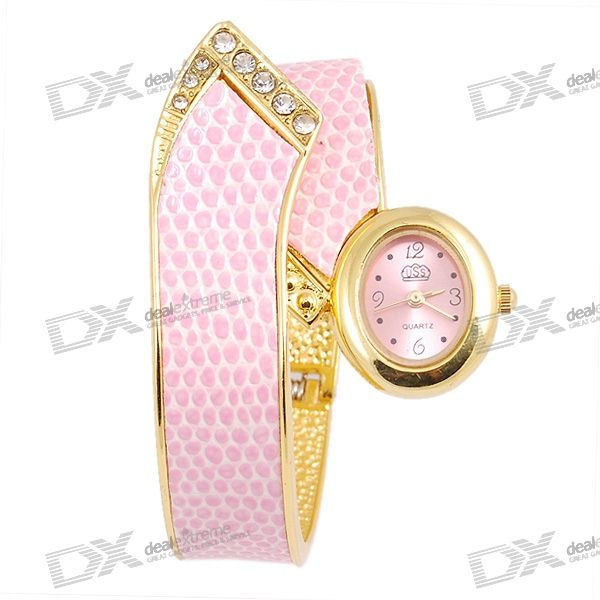 Stylish Bracelet Lady's Quartz Watch (Pink)