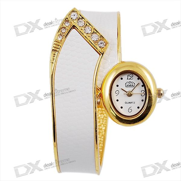 Stylish Bracelet Lady's Quartz Watch (White)