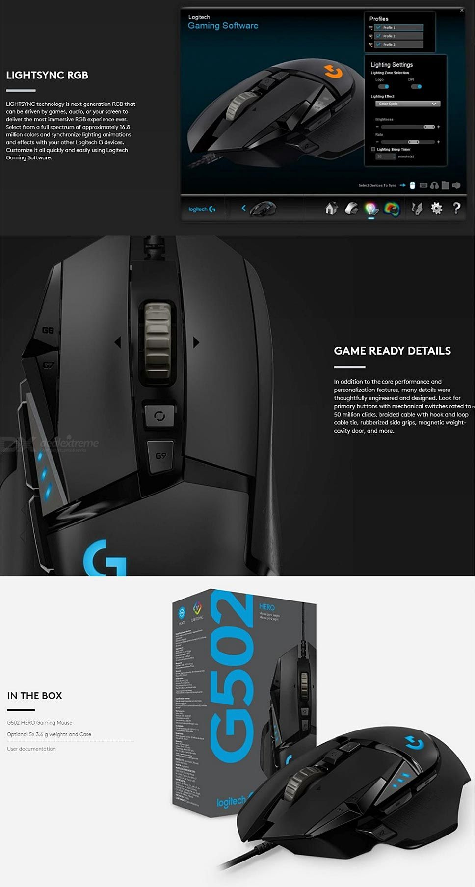 Mice - Logitech (G) G502 Hero Master Wired Game Mouse Full Line