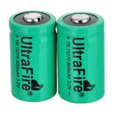 Rechargeable 3V CR2 800mAh Batteries - Green (Pair)