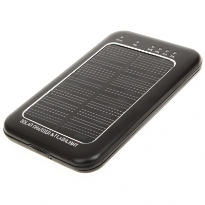 Solar Powered Rechargeable 2600mAh Portable Power Pack with Flashlight + Charging Adapters - Black