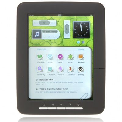 "8.0"" LCD Touch Screen E-Book Reader Multimedia Player w/TF/3.5mm Audio Jack - Black (4GB)"