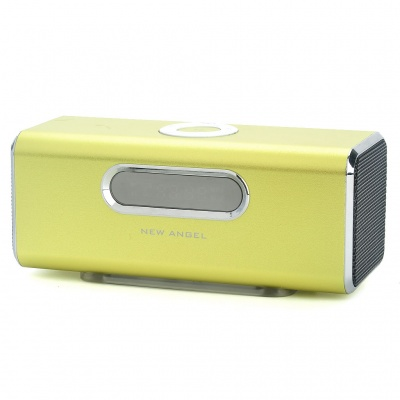 "1.6"" LCD 2x3W Mini USB Rechargeable MP3 Music Player Speaker with FM/USB/TF - Green"