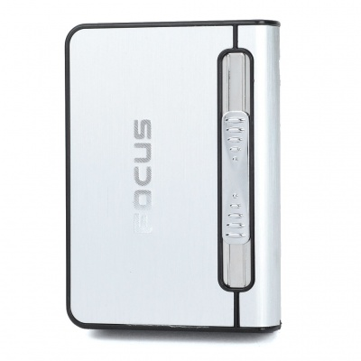 Focus Silver Wiredrawing Cigarette Case Dispenser with Butane Jet Torch Lighter (Holds 12)