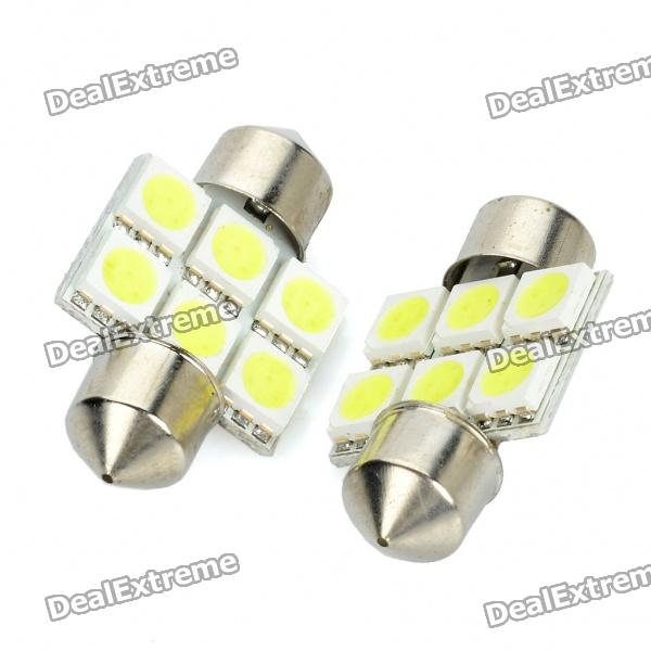 SV85 31mm 0.5W 6500K 65lm 6-SMD LED White Lights for Car (Pair / 12V)