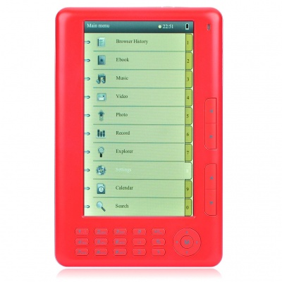 "7.0"" LCD E-Book Reader Multimedia Player w/ FM/TF Slot - Red (4GB)"
