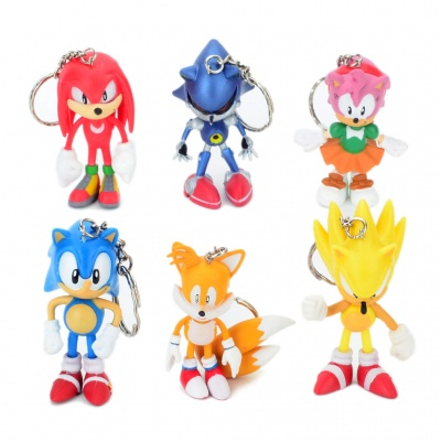Sonic the Hedgehog Characters PVC Figure Toy Keychains (Set of 6)