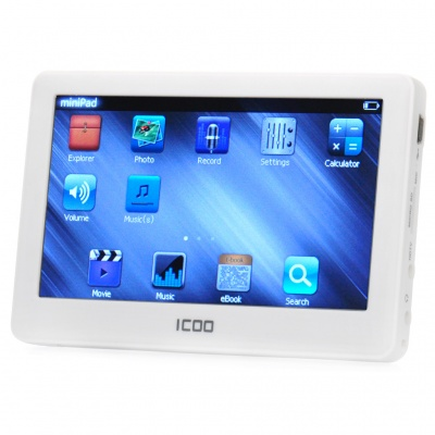 "ICOO K11T 4.3"" Touch Screen MP4 Player w/ HDTV / 3.5mm Jack / TF Slot - White (8GB)"