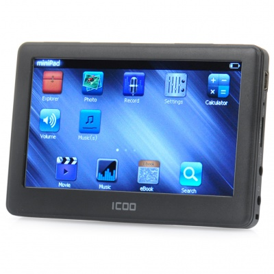 "ICOO K11T 4.3"" Touch Screen MP4 Player w/ HDTV / 3.5mm Jack / TF Slot - Black (8G)"