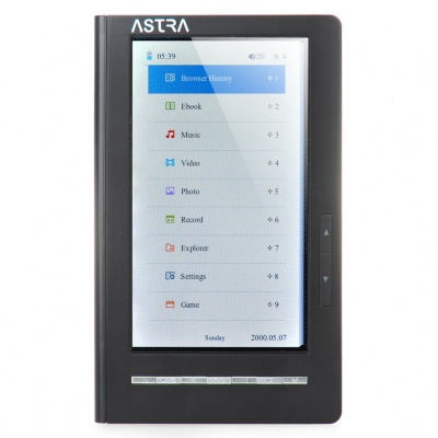 "7.0"" TFT Touch Screen E-Book Reader Multimedia Player w/ Voice Recorder / TF - Black (8GB)"