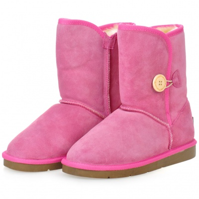 INCOME Women's Casual Cow Leather Winter Warm Snow Boots - Pink (EUR Size-38)